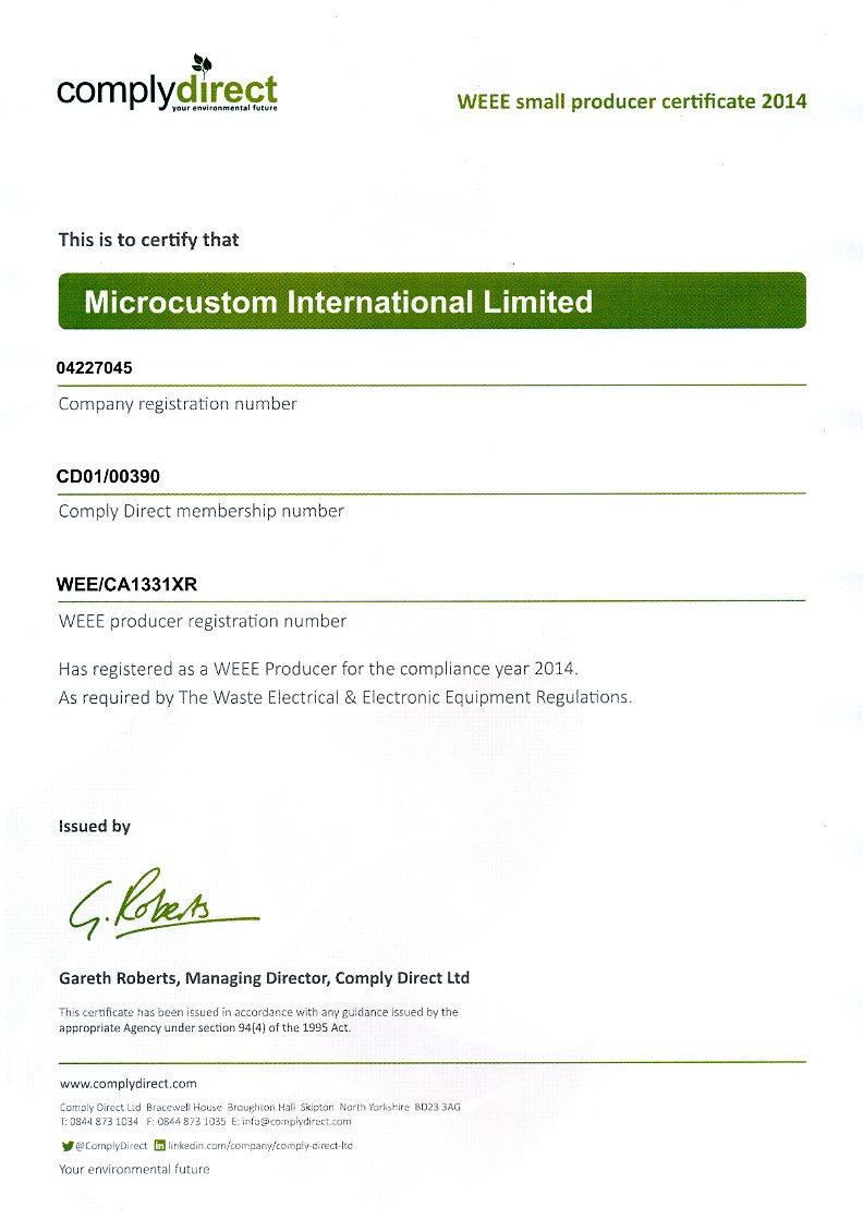 WEEE Certificate 2014 web